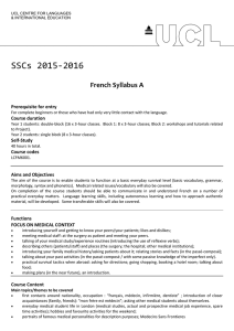 SSCs 2015-2016 French Syllabus A Prerequisite for entry Course duration
