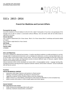 SSCs 2015-2016 French for Medicine and Current Affairs Prerequisite for entry
