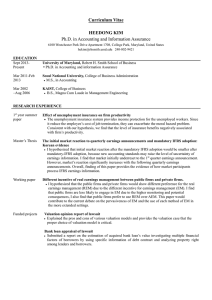 Curriculum Vitae  HEEDONG KIM Ph.D. in Accounting and Information Assurance