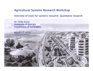 Agricultural Systems Research Workshop Dr Hilda Kurtz Dr. Hilda Kurtz