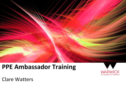 PPE Ambassador Training Clare Watters