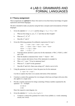 4 LAB 0: GRAMMARS AND  FORMAL LANGUAGES 4.1 Theory assignment
