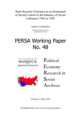 State-Security Clearance as an Instrument Lithuania, 1965 to 1985