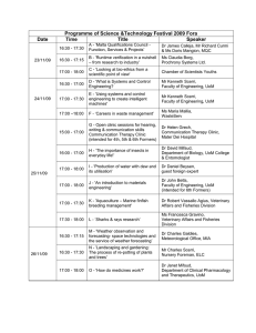 Programme of Science &Technology Festival 2009 Fora Date Time Title