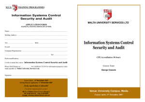 Information Systems Control Security and Audit MALTA UNIVERSITY SERVICES LTD
