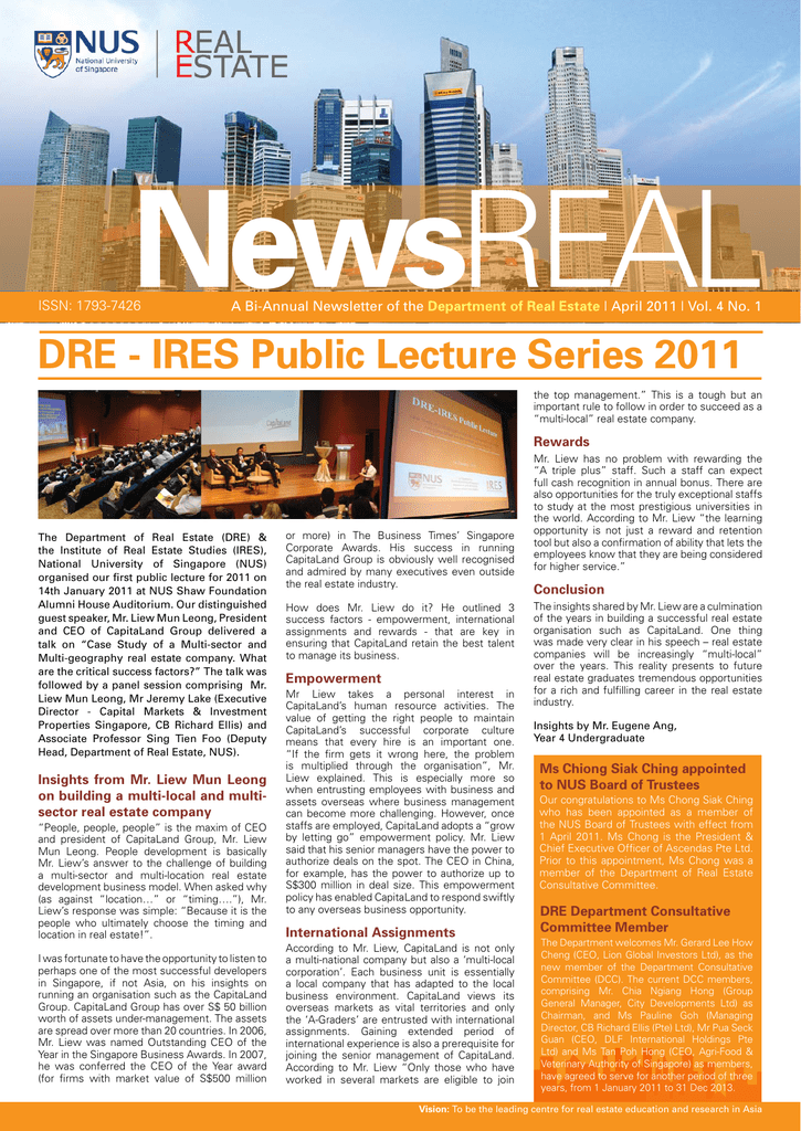 News A Bi-Annual Newsletter of the Department of Real Estate