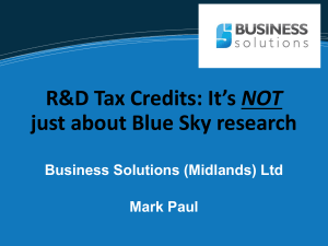 NOT just about Blue Sky research Business Solutions (Midlands) Ltd Mark Paul