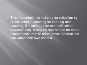 This presentation is included for reflection by
