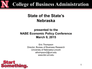 College of Business Administration State of the State's Nebraska presented to the