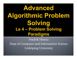 Advanced Algorithmic Problem Solving Le 4 – Problem Solving