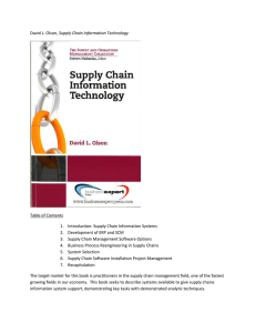 Supply Chain Information Technology  Table of Contents