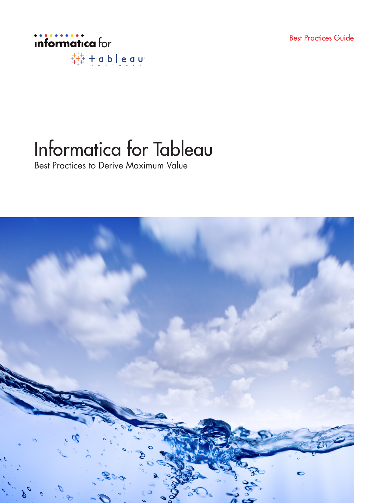 Informatica for Tableau for Best Practices to Derive Maximum