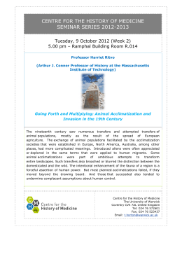 CENTRE FOR THE HISTORY OF MEDICINE SEMINAR SERIES 2012-2013