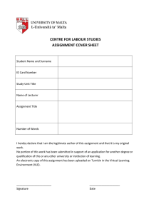 CENTRE FOR LABOUR STUDIES ASSIGNMENT COVER SHEET