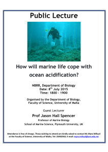 Public Lecture  How will marine life cope with ocean acidification?