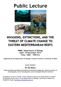 Public Lecture  INVASIONS, EXTINCTIONS, AND THE THREAT OF CLIMATE CHANGE TO