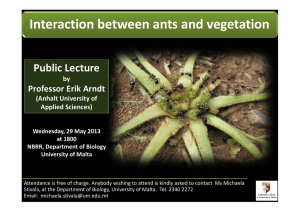 Interaction between ants and vegetation Public Lecture   Professor Erik Arndt  by