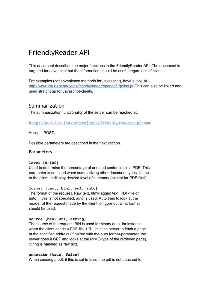 FriendlyReader API