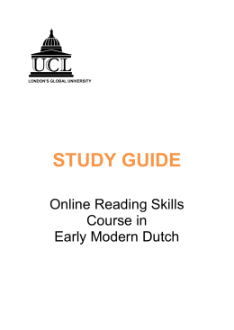 STUDY GUIDE Online Reading Skills Course in Early Modern Dutch