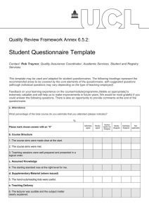Student Questionnaire Template  Quality Review Framework Annex 6.5.2: