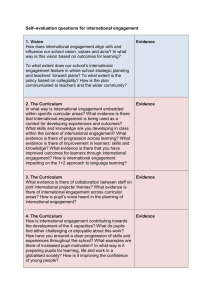 Self–evaluation questions for international engagement 1. Vision Evidence