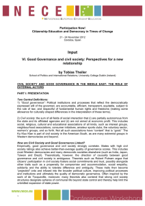 Input VI. Good Governance and civil society: Perspectives for a new relationship
