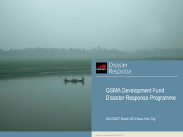 GSMA Development Fund Disaster Response Programme