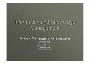 Information and Knowledge Management A Risk Manager '
