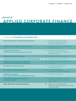 APPLIED CORPORATE FINANCE Journal of Sustainability and Shareholder Value