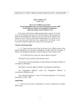 Legal Notice 317 of 2008 - Malta Government Gazette No.18,348 -...  EDUCATION ACT (CAP. 327)