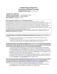 Annual Progress Report on Assessment of Student Learning Student Life Units