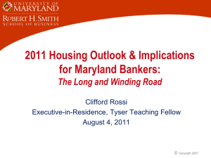 2011 Housing Outlook & Implications for Maryland Bankers: