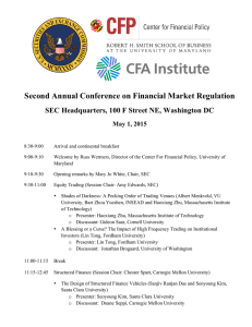 Second Annual Conference on Financial Market Regulation May 1, 2015