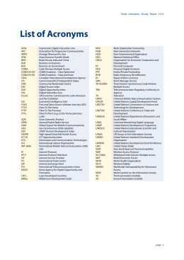 List of Acronyms World Information Society Report 2006