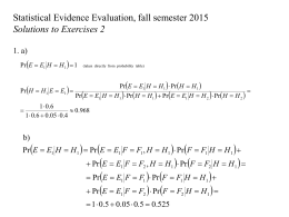   Statistical Evidence Evaluation, fall semester 2015 Solutions to Exercises 2