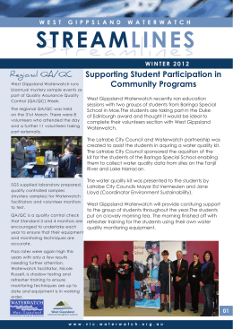 Supporting Student Participation in Community Programs Regional QA/QC