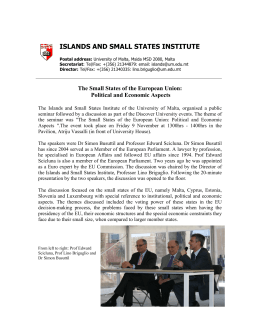 ISLANDS AND SMALL STATES INSTITUTE  UNIVERSITY OF MALTA