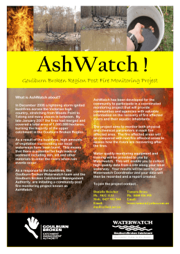 AshWatch ! Goulburn Broken Region Post Fire Monitoring Project