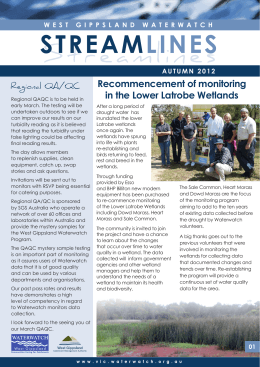 Recommencement of monitoring in the Lower Latrobe Wetlands Regional QA/QC