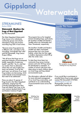 Gippsland STREAMLINES Inside This Issue: Waterwatch  Monitors the