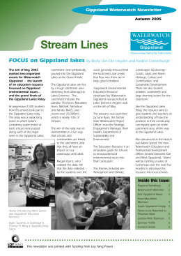 Stream Lines FOCUS on Gippsland lakes Gippsland Waterwatch Newsletter Gippsland