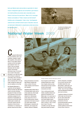 Each year National water week provides an opportunity for natural