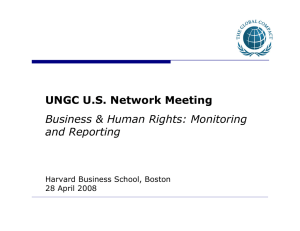 UNGC U.S. Network Meeting Business & Human Rights: Monitoring and Reporting