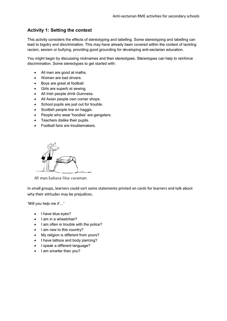 Activity 1 Setting The Context Anti Sectarian Rme Activities For