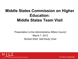 Middle States Commission on Higher Education: Middle States Team Visit