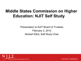 Middle States Commission on Higher Education: NJIT Self Study