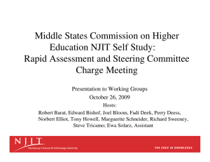 Middle States Commission on Higher Education NJIT Self Study: Charge Meeting