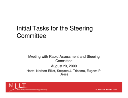 Initial Tasks for the Steering Committee Meeting with Rapid Assessment and Steering