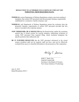 RESOLUTION TO AUTHORIZE EXCLUSIONS OF CERTAIN NJIT PERSONNEL FROM REQUIRED FILING  WHEREAS,