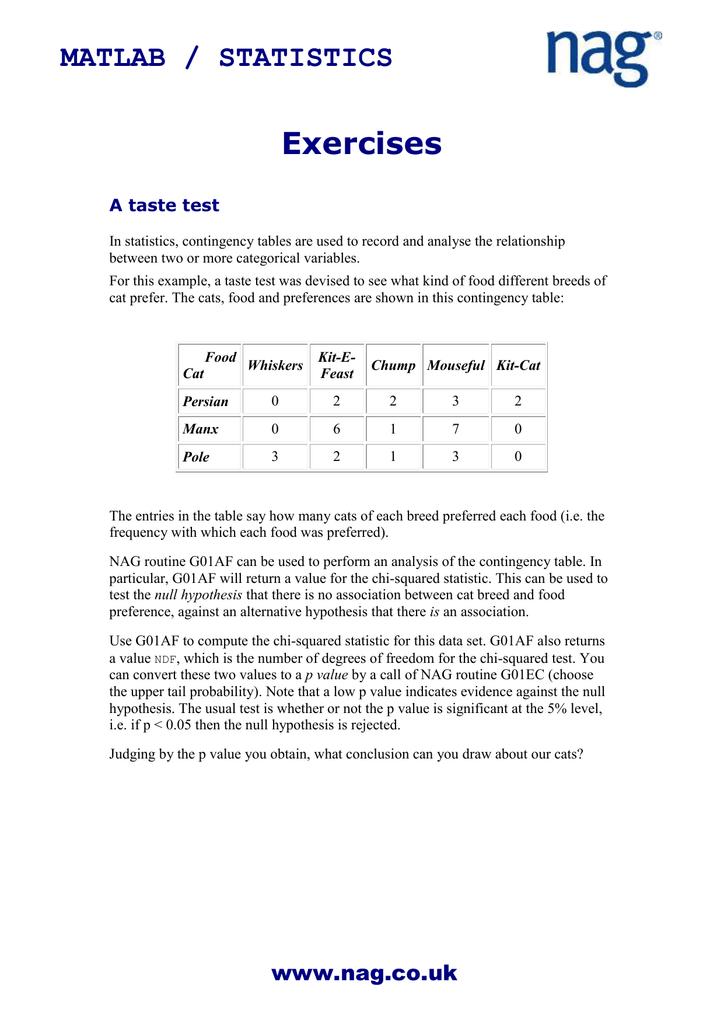 Exercises MATLAB / STATISTICS A taste test